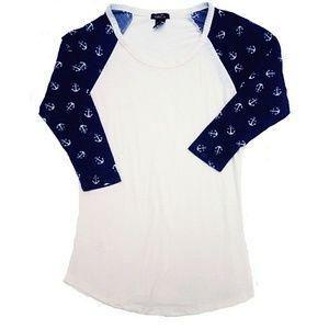Tops - New Boat ANCHOR Navy Blue Cream Shirt Size xs